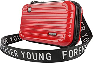LinkIdea Suitcase Cosmetic Handbag Crossbody Bags for Women, Mini Suitcase Makeup Case Small Hard Case Cosmetic Travel Bag Gadget Organizer (Red)