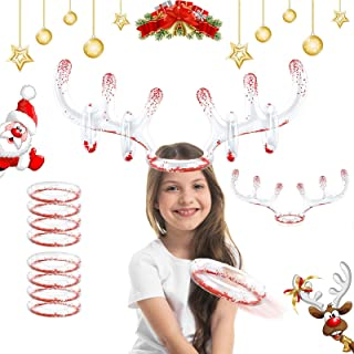 2 Set Christmas Inflatable Reindeer Antler Game Toss Game Christmas Party Games for Kids Adults Family Christmas Party Acc...