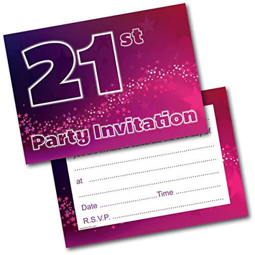 Doodlecards 21st Birthday Party Invitations Female Invites Pack Of 20 Postcards And Envelopes