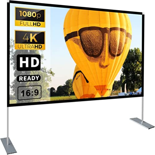 Portable Projector Screen with Stand 100 inch 16:9 HD 4K Outdoor Indoor Projection Screen for Home Theater 3D Fast-Fo...