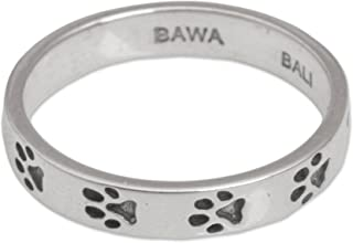 NOVICA .925 Sterling Silver Band Ring with Dog Paw Prints, Paw Prints'