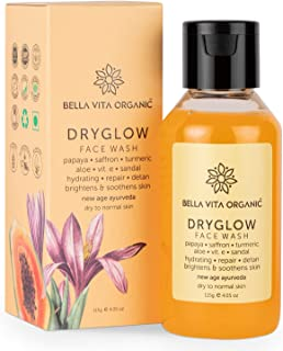 Bella Vita Organic DryGlow Natural Face Wash For Dry Skin With Papaya, Saffron, Turmeric, Aloe, Brightening & Hydrating Su...