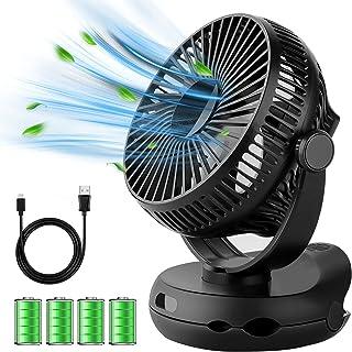扇風機 充電式 USB 卓上扇風機 クリップ式 10000mAh 40h連続使用 ファン 小型 ミニ扇風機 超静音 強力 大風量 風速4段階調節 上下左右360度角度調整 LED照明機能付き 便利 コンパクト 電池内蔵 コードレス せんぷうき ...