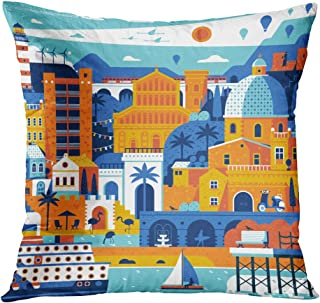 Llsty Throw Pillow Cover 18 x 18 inches Summer Travel Island Landscape Inspired Polyester Soft Square for Couch Sofa Bedroom