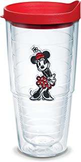 Tervis 1346599 Disney - Original Minnie Insulated Tumbler with Emblem and Red Lid, 24oz, Clear