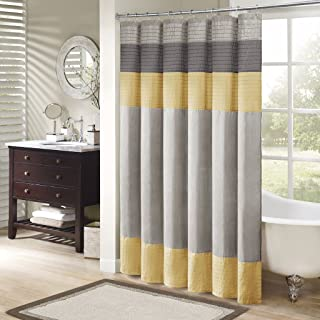 Madison Park Amherst Bathroom Shower Faux Silk Pieced Modern Microfiber Bath Curtains, 72X72 Inches, Yellow