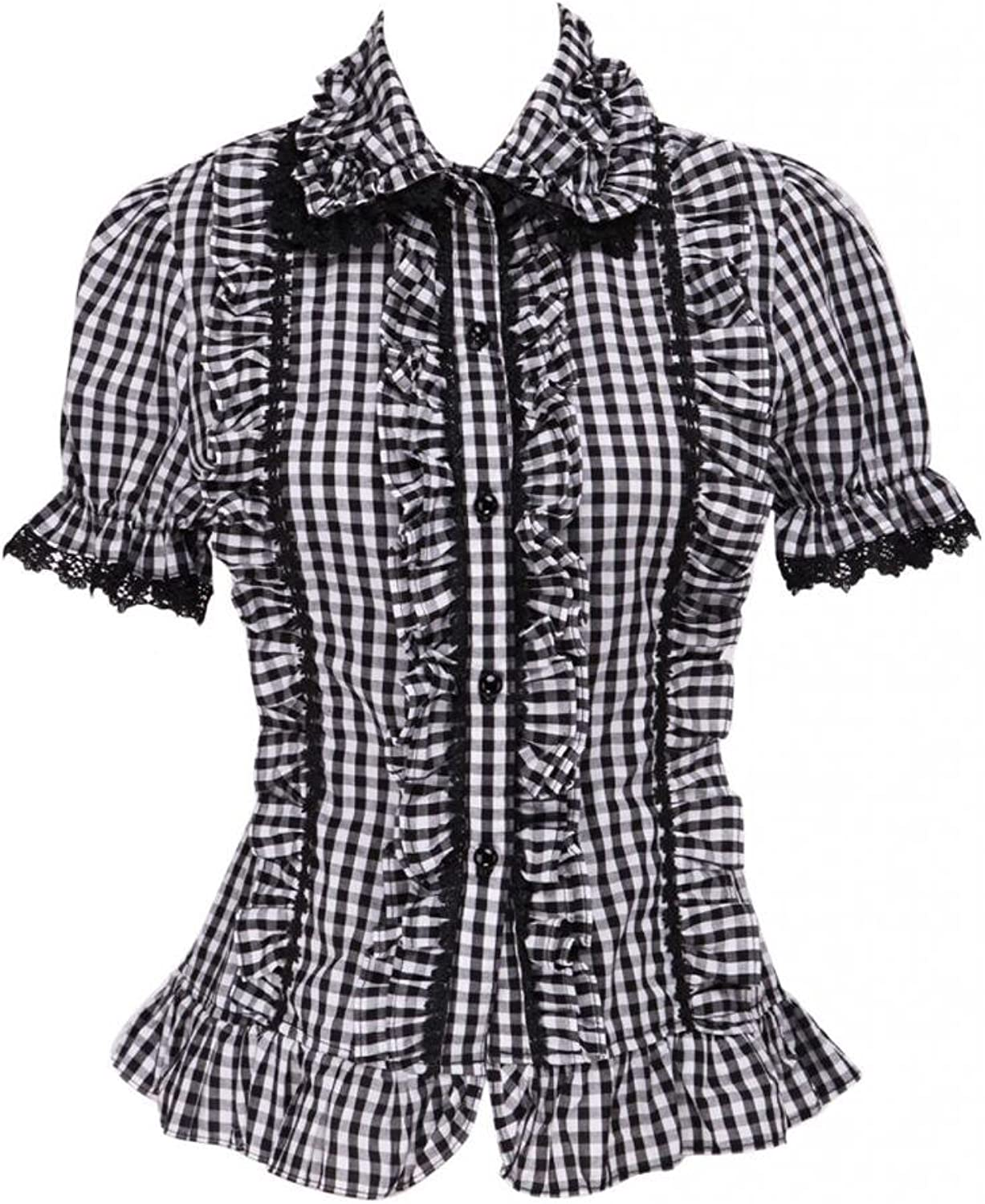 Hugme Black and White Squares Lolita Blouse Short Sleeves Bow Ruffles