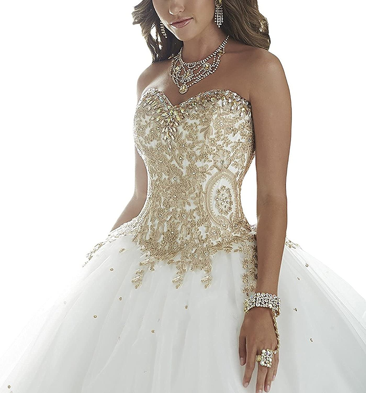 XSWPL Women's Crystal gold Applique Ball Gowns Tulle Wedding Dresses White