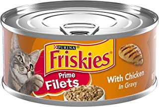 Purina Friskies Prime Filets Chicken in Gravy Wet Cat Food Can, 5.5 oz x 24 Cans