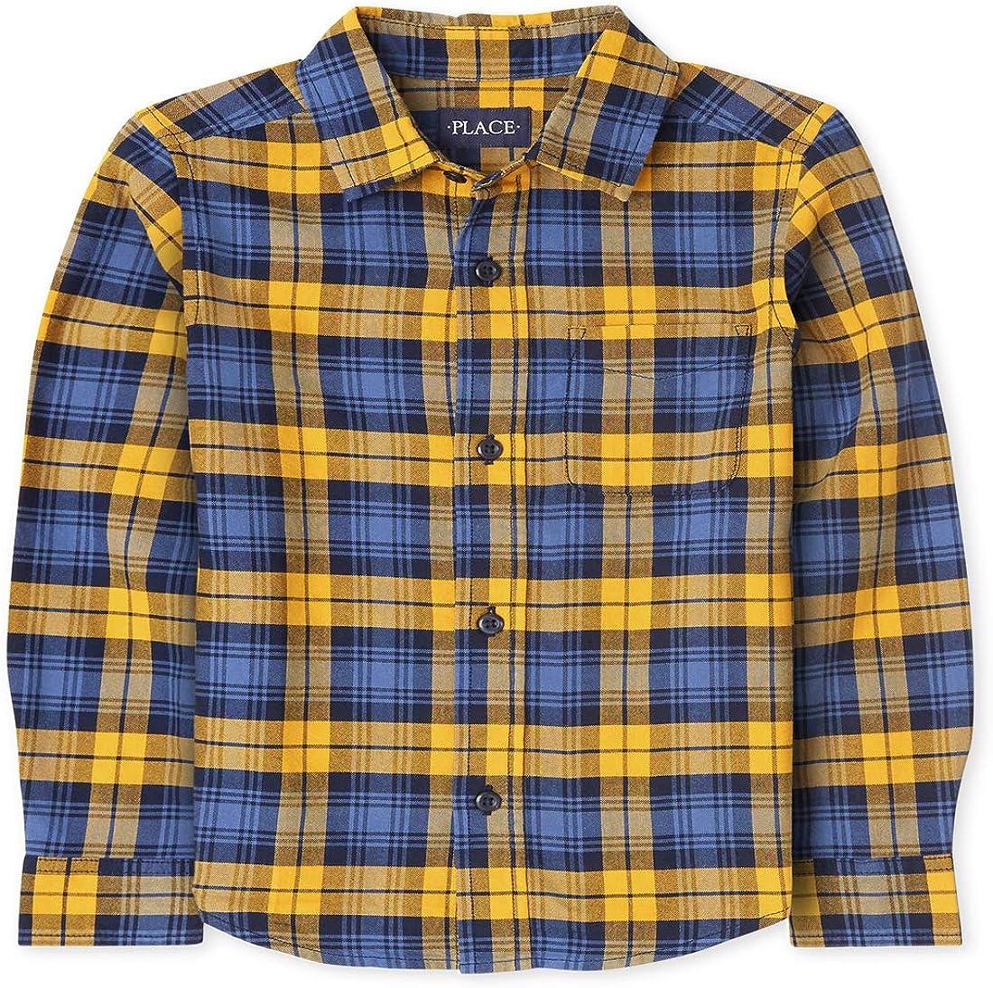 The Children's Place Boys' Plaid Oxford Button Down Shirt