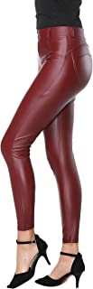 DALLNS Faux Leather PU Elastic Shaping Hip Push Up Pants Black Thick Sexy Leggings for Women