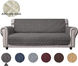 Ameritex Waterproof Sofa Cover Oversized with Non-Slip Back Keep Your Couch Stain, Dirt & Scratches-Free (Pattern1:Dark Grey, XL Sofa)