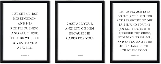 Andaz Press Black and White Christian Bible Verses Wall Art Decor, 8.5x11-inch, Cast All Your Anxiety on Him Because He Cares for You, 3-Pack, Biblical Quotes Modern Gift for Him Her New Couple