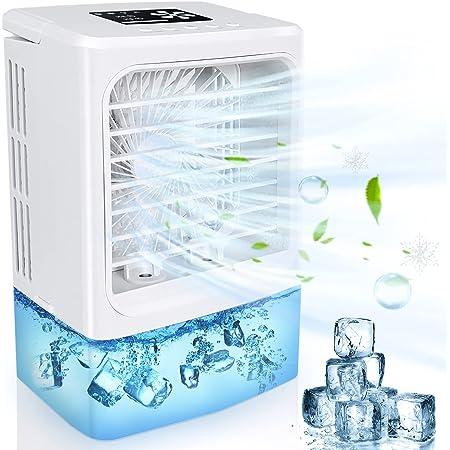 Condizionatore Portatile, Mini Climatizzatore,4 in 1 Raffrescatore Ventilatore Umidificatore Depuratore, Raffreddatore D'aria, 4 Velocità, 2 Nebulizzazione,2/4h Timer,7 luci a LED per Casa e Ufficio
