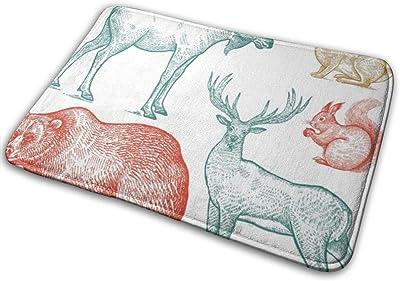 "Coney Bear Forest Set Wild Grunge Deer Hand Black Drawing NaturalDoormat Entrance Mat Floor Mat Rug Indoor/Bathroom Mats Rubber Non Slip (23.6""x15.7"",L x W)…"