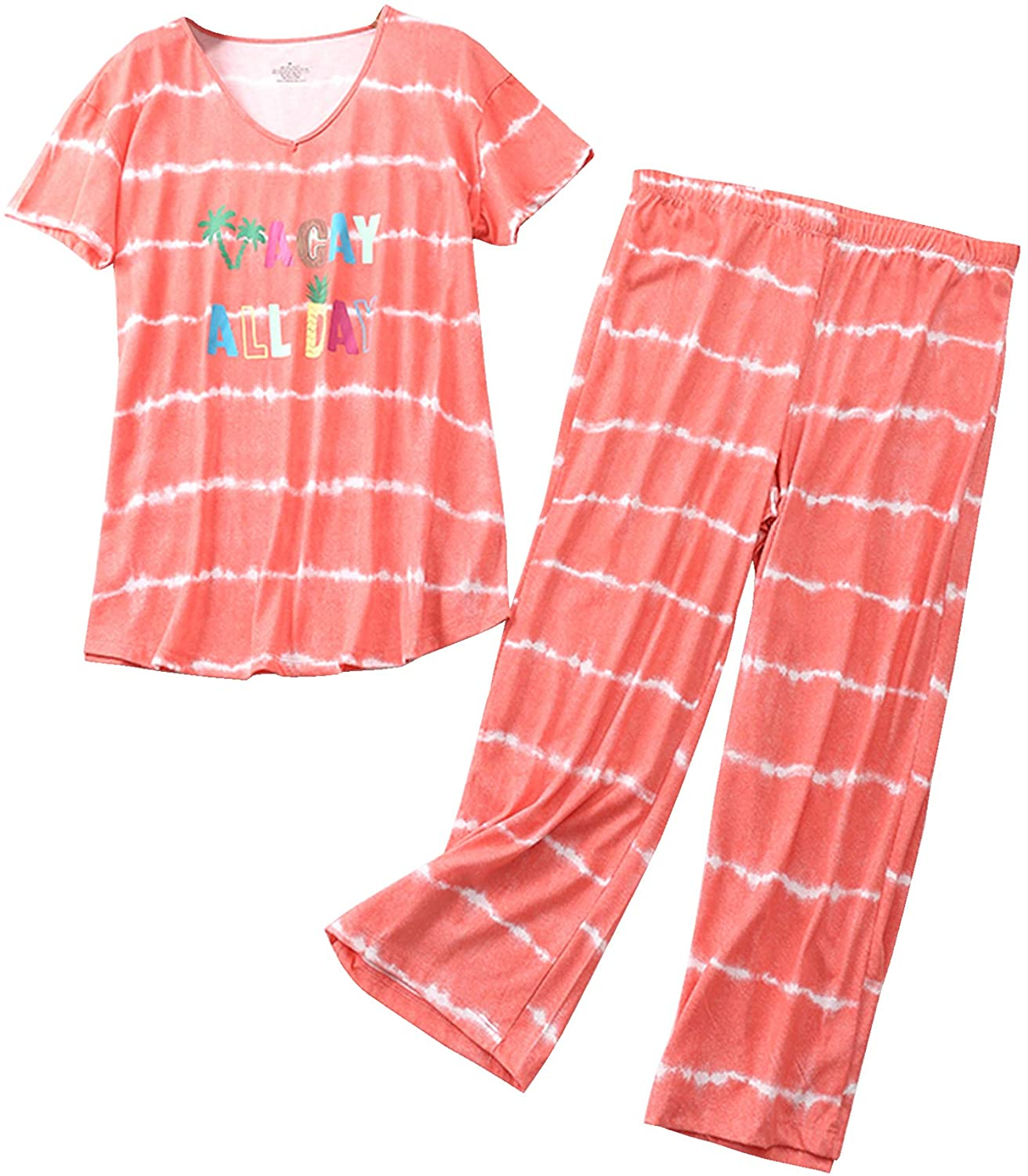 In a popularity Aoymay Women's Pajama online shopping Sets Short Tops Sl Capri Cotton with Pants