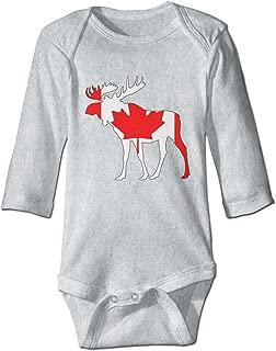 XHX Baby Canada Flag Moose Long Sleeve Romper Onesie Bodysuit Jumpsuit