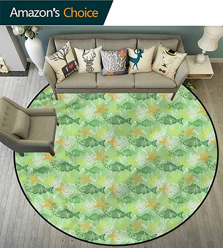 RUGSMAT Fishes Round Area Rug Carpet Bass Starfish Seashell Lifts Basket Swivel Chair Pad Coffee Table Rug Diameter 24
