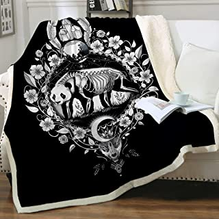 Panda Black by Pixie Cold Art Zombie Panda Blankets and Throws Soft Fleece Sugar Skull Blanket Black Skeleton Sherpa Plush Blanket for Boys and Adults,Twin (60