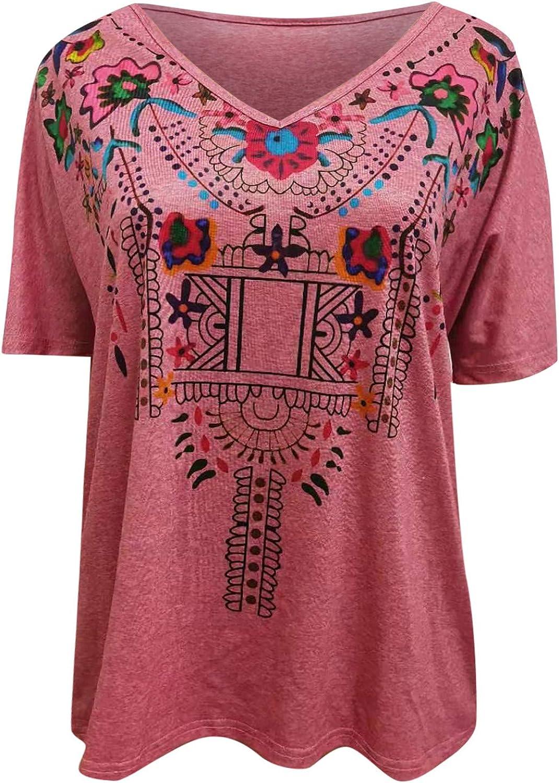 Women's Boho Peasant Shirt Tops, Ladies Casual Short Sleeve V Neck Mexican Bohemian T-Shirt Loose Blouses