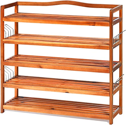 wholesale Giantex 5-Tier Wood Shoe Rack Entryway Shoe Shelf Storage Organizer for online sale Hallway, Bathroom, Living Room lowest Free Standing Shoe Racks with 8 Metal Side Hangers, 33''Lx10''Wx32''H sale