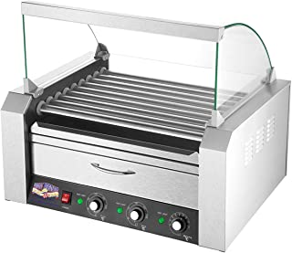 5200 Great Northern 9 Roller Grilling Machine | Bun Warmer | Cover | 24 Hot Dogs (Pack of 3)