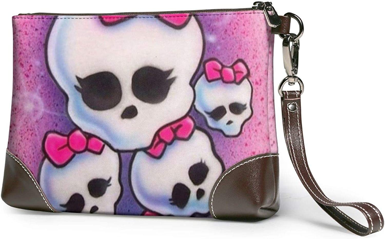 Pink Girls Skull Store Clutch Purses Wristlet Wallet Leather trust Pu