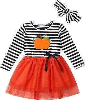 Girls Rainbow Striped Cotton Dress Cute Pullover Blouse Top (90cm(1-2years), A-Pumpkin)