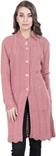 HAUTEMODA Womens Woollen Embroidered Cardigan with Pockets (Pink_L)