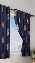Home Sizzler Cotton Hand Block Print Window Curtain (5 ft, Blue Silver)