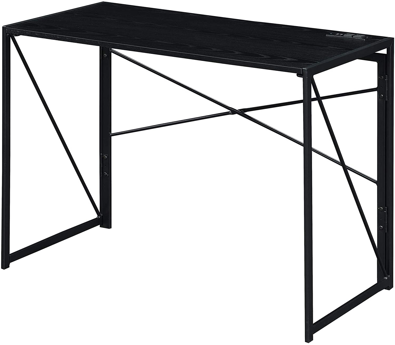 Convenience Concepts Xtra Folding Desk with Charging Station, Black/Black