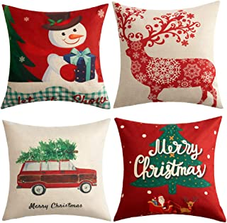 Anickal Christmas Holiday Decorations Christmas Cotton Linen Pillow Covers 18x18 with Christmas Truck Deer Snowman Santa Claus Pattern Xmas Gifts