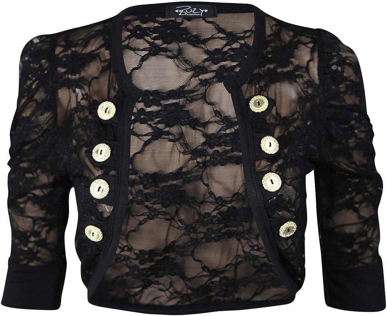 Cima Mode Womens Ladies Lace Ruched Sleeve Bolero Cardigan Military Style Shrug