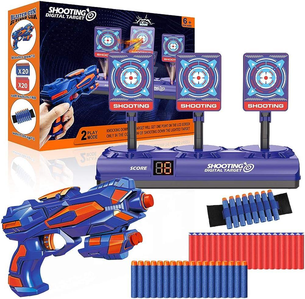 Bersaglio elettrico per nerf con pistole giocattolo, 40 dardi proiettili e polsino, ripristino automatico digi