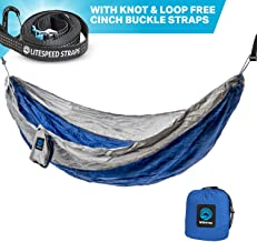Outpost Camping Hammock With Adjustable Suspension System- Includes 11' 100% Polyester Tree Straps, Wire Gate Carabiners- Double Size - 100% Ripstop Parachute Nylon (Gray/Blue, Double)