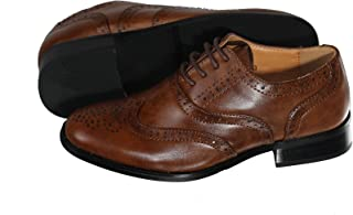 Boys Brown Oxford Pattern Lace Up Formal Dress Shoes