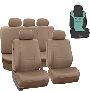FH Group PU002115 Classic PU Leather Car Seat Covers, Airbag Compatible and Split Bench w. Gift, Tan Color