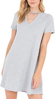 ZD182399 The Cut Out Front Tee Dress in Heather Gray