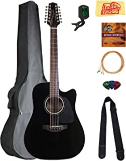 Takamine GD30CE12 12-String Dreadnought Cutaway Acoustic-Electric Guitar - Black Bundle with Gig Bag, Cable, Tuner, Strap, Strings, Picks, Austin Bazaar Instructional DVD, and Polishing Cloth