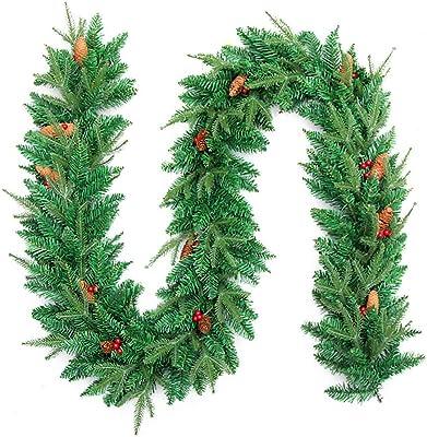 ZTGHS 9FT/2.7M Decoración De Guirnaldas De Navidad, Escaleras Chimeneas Encriptación Artificial Corona De Vid De Pino para Interior Fiesta De Bodas Festiva Al Aire Libre Adorno De Árbol De Navidad,A: Amazon.es: Hogar