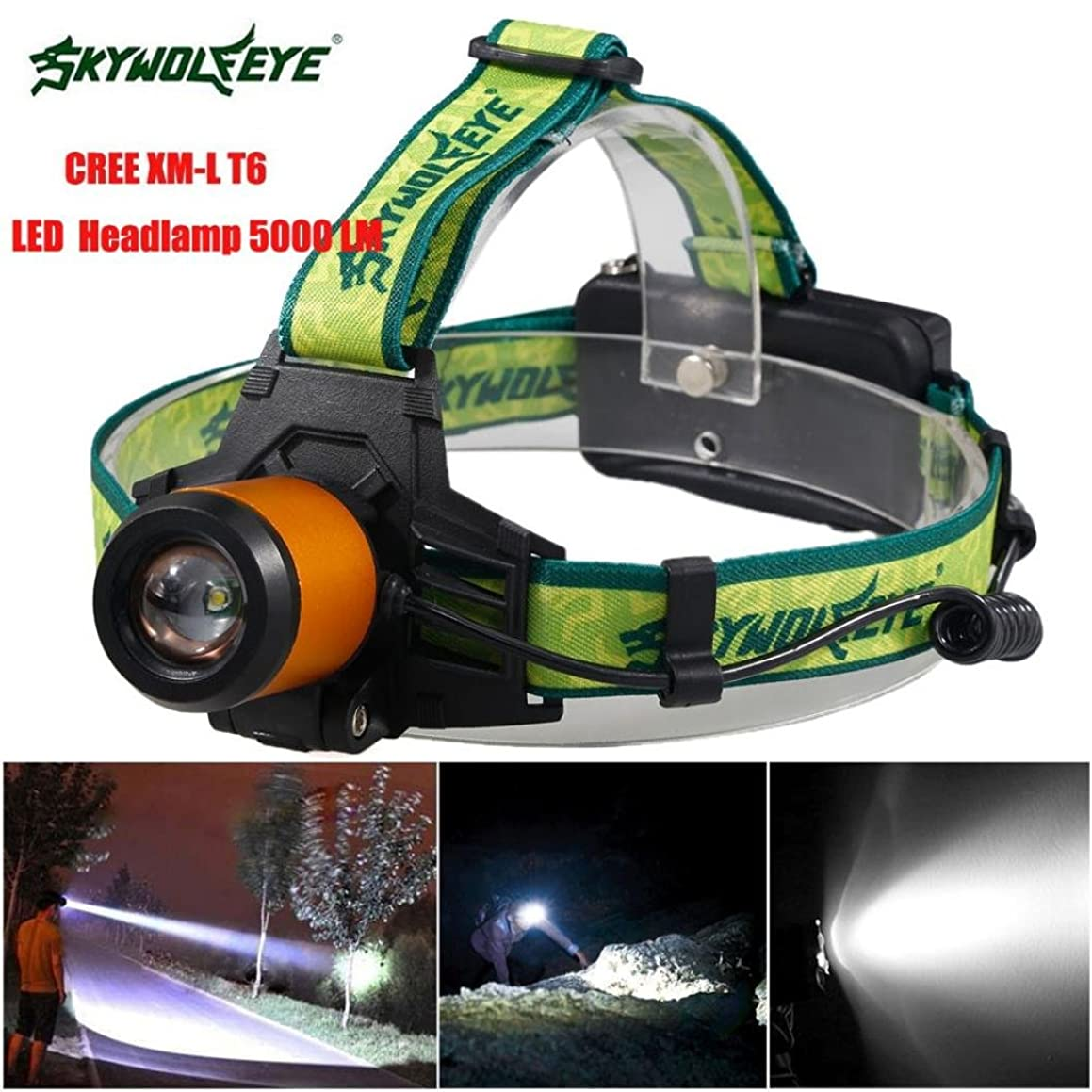 Sky Wolf Eye Headlamp ,Oksale? Waterproof 5000 LM 3 Mode Zoomable XML T6 LED Bicycle Head Light ,18650 Headlight Torch for Camping Hunting Running (Orange)
