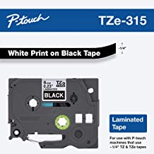 """Brother Genuine P-touch TZE-315 Tape, 1/4"""" (0.23"""") Wide Standard Laminated Tape, White on Black, Laminated for Indoor or Outdoor Use, Water-Resistant, 0.23"""" x 26.2' (6mm x 8M), Single-Pack, TZE315"""