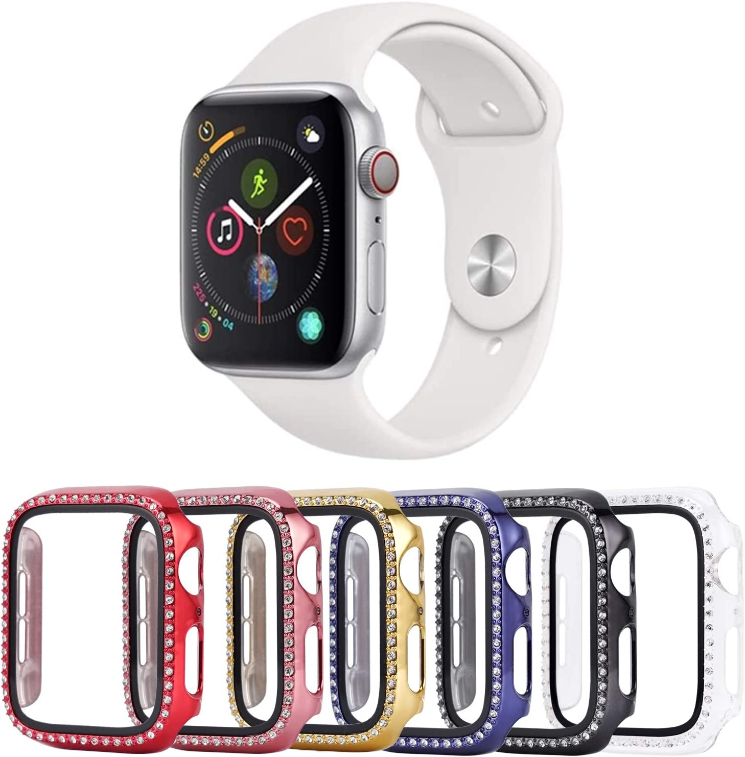 Tranesca 6 Pack 42mm Bling Case with Built-in Tempered Glass Screen Protector Compatible with Apple Watch Series 3/2/1 (Red,Rose Gold,Gold,Blue,Black,Clear)