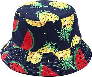 HINK Fashion Women Rainbow Print Canvas Foldable Outdoors Bucket Hat Sun Hat Cap