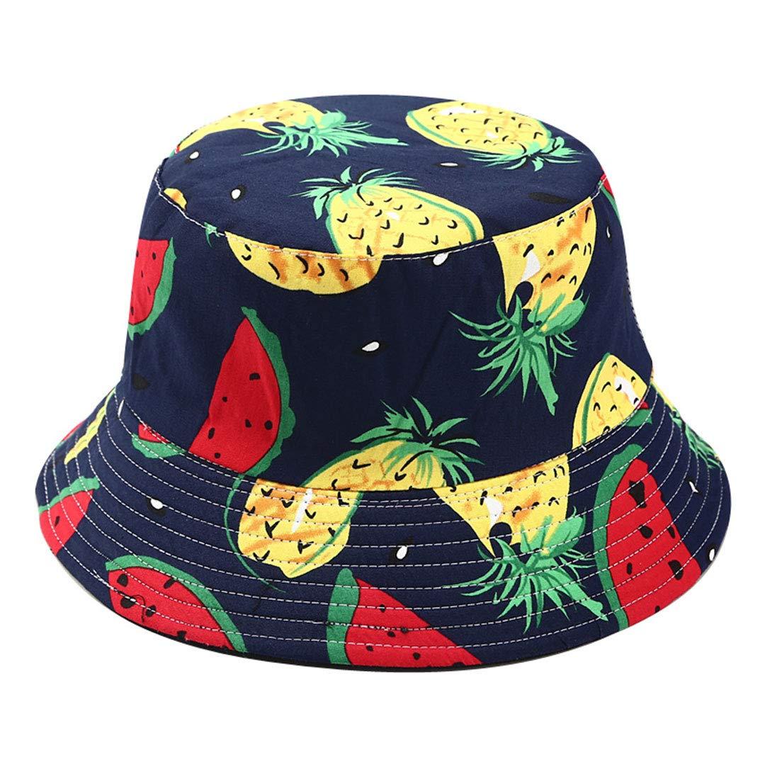 Joylife Fruit Print Bucket Hat Banana Pattern Fisherman Hats Summer Reversible Packable Cap Navy