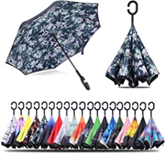 Inverted Umbrella Windproof Double Layer Folding Reverse Umbrella For Women Huge Umbrella For men (Lily flower color)