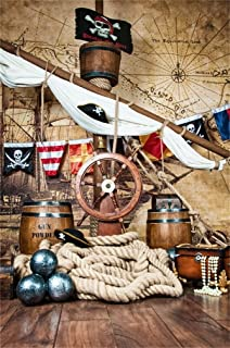 CSFOTO 5x7ft Background for Pirates Ship Deck with Steering Wheel and Flag Photography Backdrop Anchor Captain Compass Cruise Skull Sailboat Sailor Marin Child Portrait Photo Studio Props Wallpaper