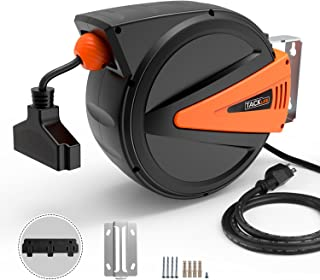 Cord Reel, Tacklife 50+4.5ft Retractable Extension Cord Reel / 14AWG, 3C SJTOW/Triple Tap Connector/Easy and Effortless Chute Mounting Bracket/for Tools Room and the Automotive Industry丨GCR2A