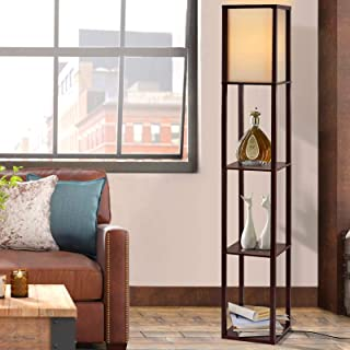 Artiss Floor lamp Shelf Vintage Light Stand Reading Home Wood 160cm Tall Decoration Living Room Office Storage Display Org...