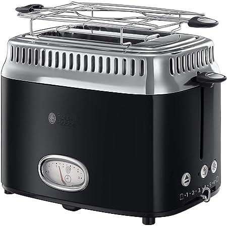 Russell Hobbs Toaster Grille-Pain, 3 Fonctions, Température Ajustable, Réchauffe Viennoiserie, Design Vintage - Noir 21681-56 Retro
